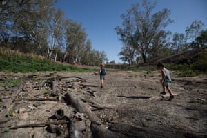 Jai Brown and Connor Burke in the empty Namoi river