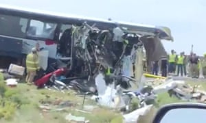 Rescue personnel work at the site of the bus crash in New Mexico.