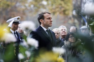 Emmanuel Macron after laying a wreath in front of the statue of Georges Clemenceau in Paris