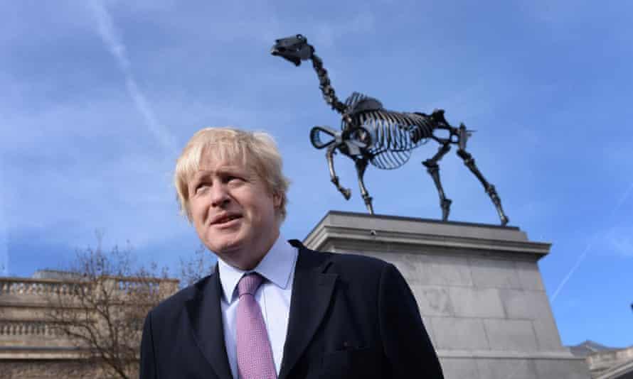 Boris Johnson unveils the Gift Horse sculpture by Hans Haacke