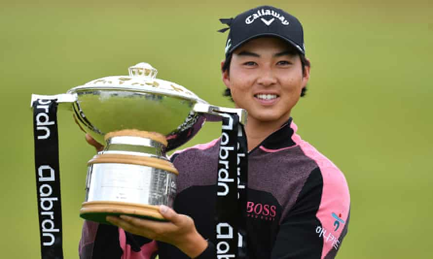 Min Woo Lee with the Scottish Open trophy after his play-off triumph.