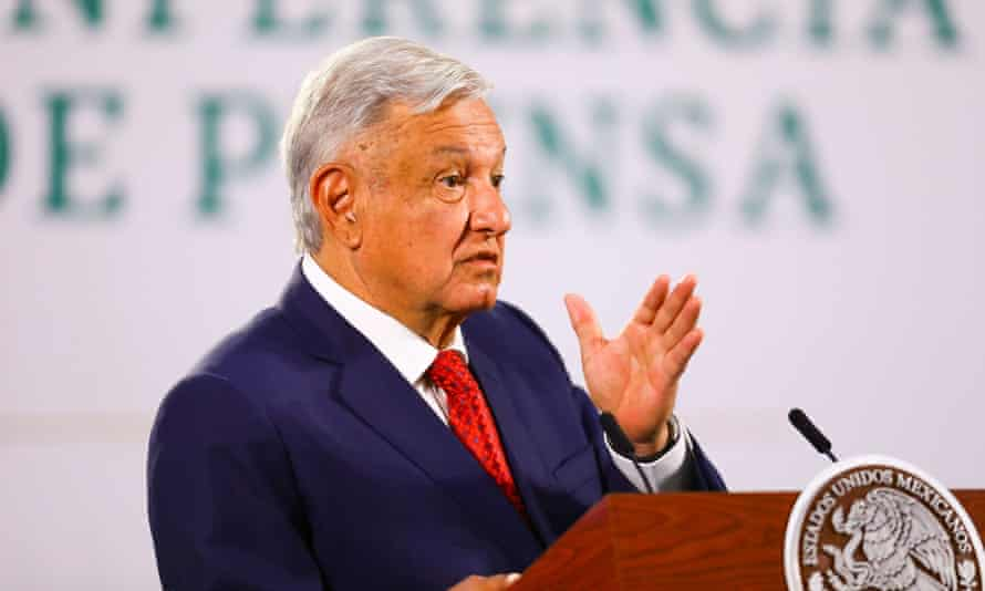 Amlo in Mexico City last week. He said of the state department's report: 'Why is the US government opining on questions that are purely Mexican matters?'
