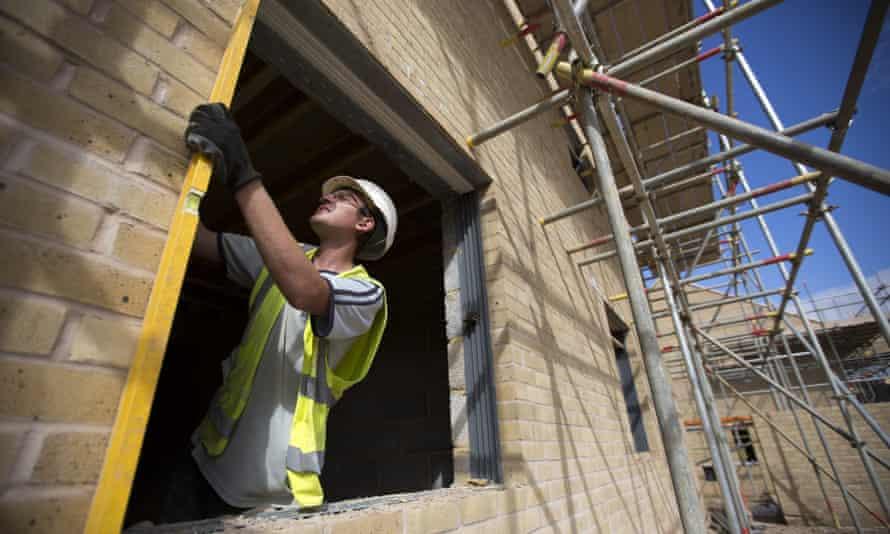 A builder on a construction site in Uxbridge, west London