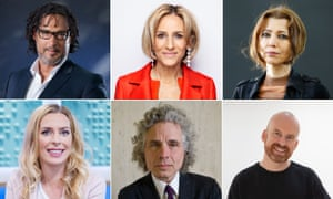 Clockwise from top left: David Olusoga, Emily Maitlis, Elif Shafak, Matt Haig, Steven Pinker and Sara Pascoe.
