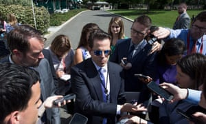 Anthony Scaramucci  gives a briefing outside the White House.
