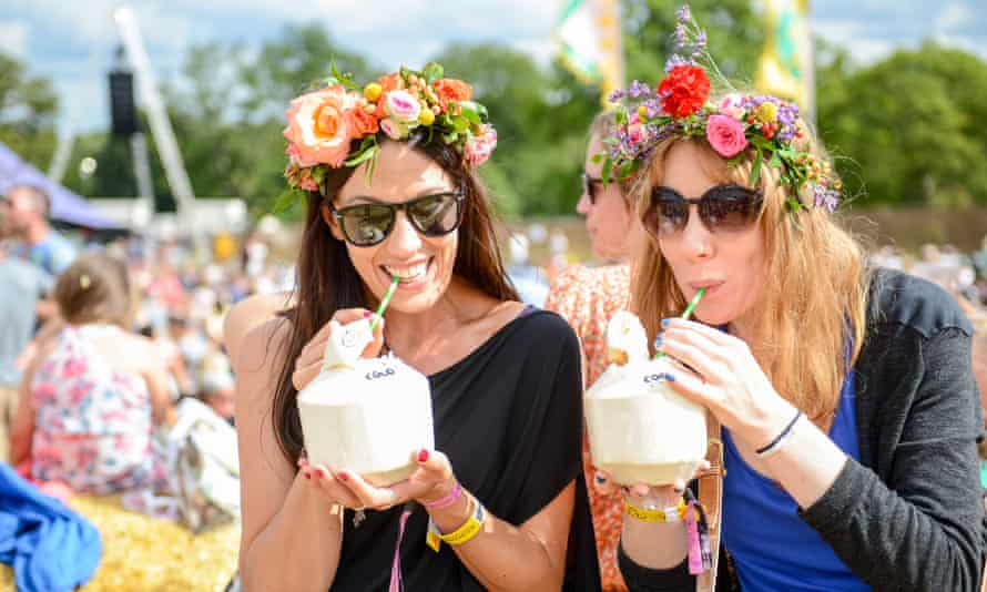 Relaxed festivalgoers at the Wilderness Festival, 2014.