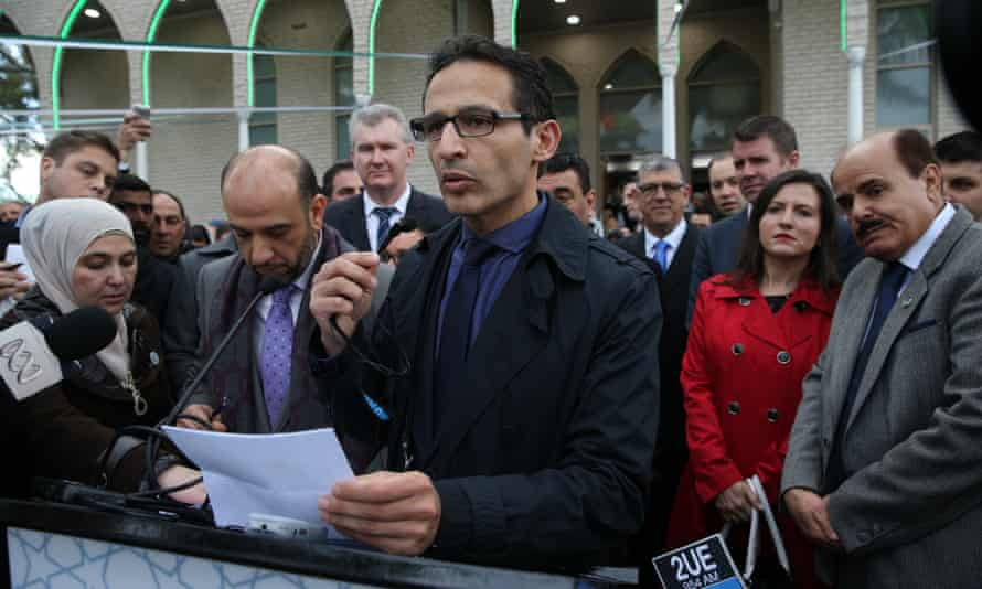 Samier Dandan, centre, speaking to thousands of Muslims surrounding the Lakemba Mosque to mark the end of the holy month of Ramadan in 2014.