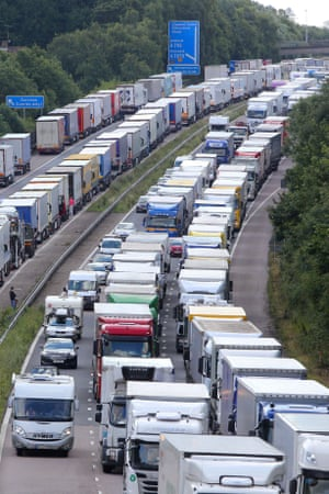 Lorries queue on the M20 on Wednesday as part of Operation Stack.