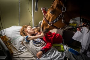 Marion, who has metastatic cancer, embraces her son Ethan in the presence of Peyo, a horse used in animal-assisted therapy, in the Séléne Palliative Care Unit at the Centre Hospitalier de Calais, in Calais, France.