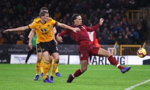 Virgil van Dijk scores Liverpool's second goal.