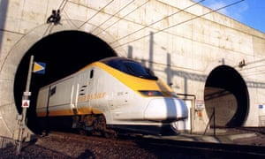 The Eurostar train emerges from the Channel tunnel at Sangatte, France, 1994.