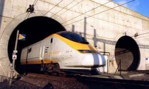 A Eurostar train emerges from the Channel tunnel in France in this photo from 21 December 1994