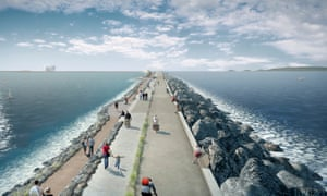 Tidal Lagoon Power's visualisation of a six-mile sea wall with turbines to generate low-carbon electricity at Swansea Bay.