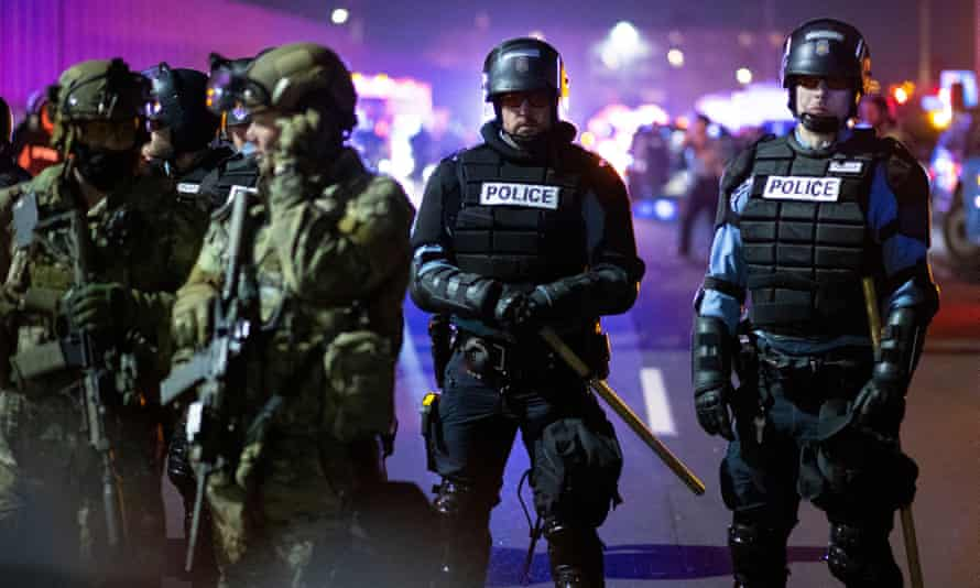 Police in Minneapolis, Minnesota, on 4 November 2020. While the ban would stop Minneapolis police from using the software, it would not stop other local law enforcement who operate in the city, such as sheriffs, from using it.