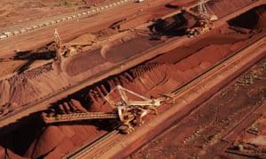 Iron ore is stockpiled at Port Hedland in Western Australia