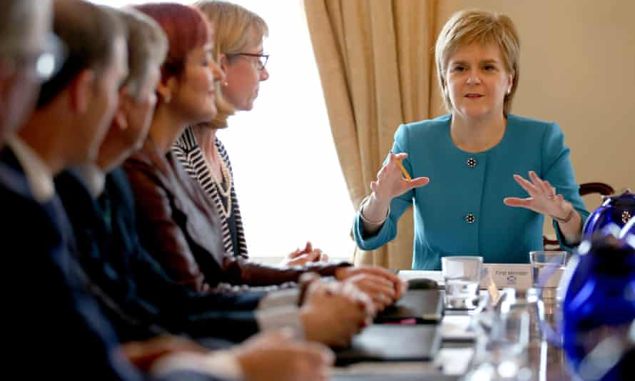 Scottish first minister Nicola Sturgeon at an emergency cabinet meeting