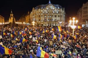 Protesters in Timisoara, Romania