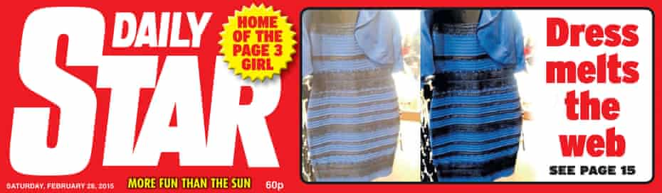 Daily Star front page 28 February 2015 featuring the dress