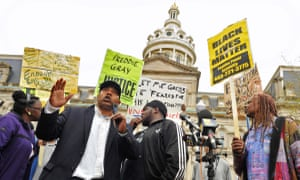Protesters in Baltimore demonstrate against the death of Freddie Gray.