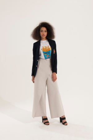 black blazer with motif on pocket Ralph Lauren, t-shirt with french fries, blue red yellow white, beige trousers Cos, black mules Asos