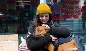 Heather with her dog Poppy in downtown Seattle, Washington