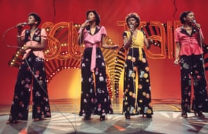 The Pointer Sisters on Soul Train, from left, Ruth, Anita, Bonnie and June.