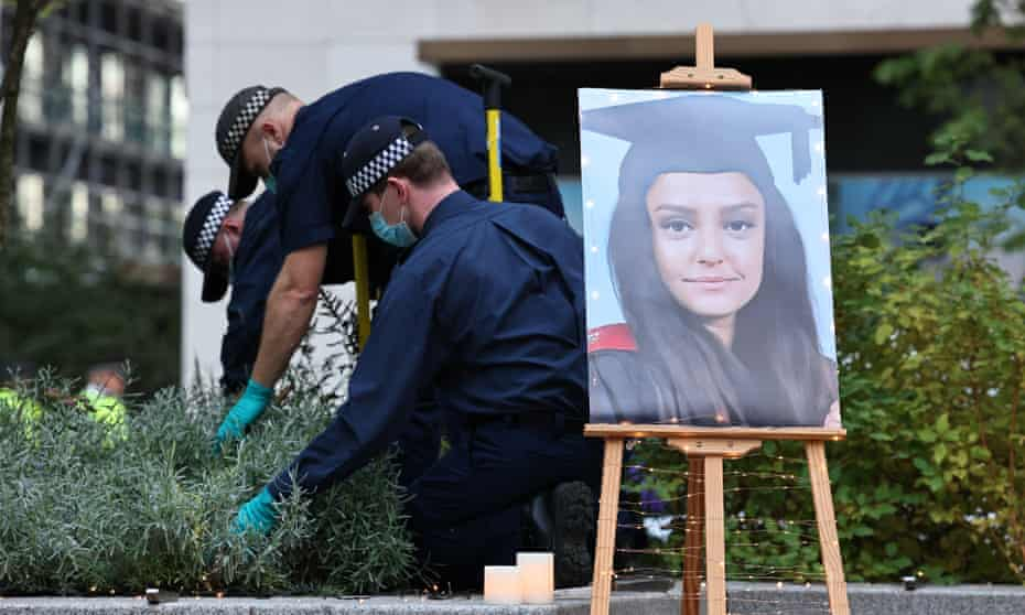 Police search  bushes in south-east London as part of the investigation into the death of Sabina Nessa