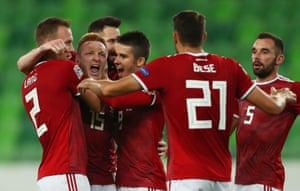 Laszlo Kleinheisler of Hungary celebrates.