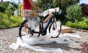 Home delivery of e-bike ordered online during the coronavirus lockdown