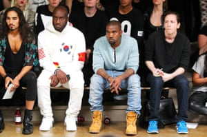Virgil Abloh and Kanye West at the Hood by Air show, at Mercedes-Benz Fashion Week in 2013.