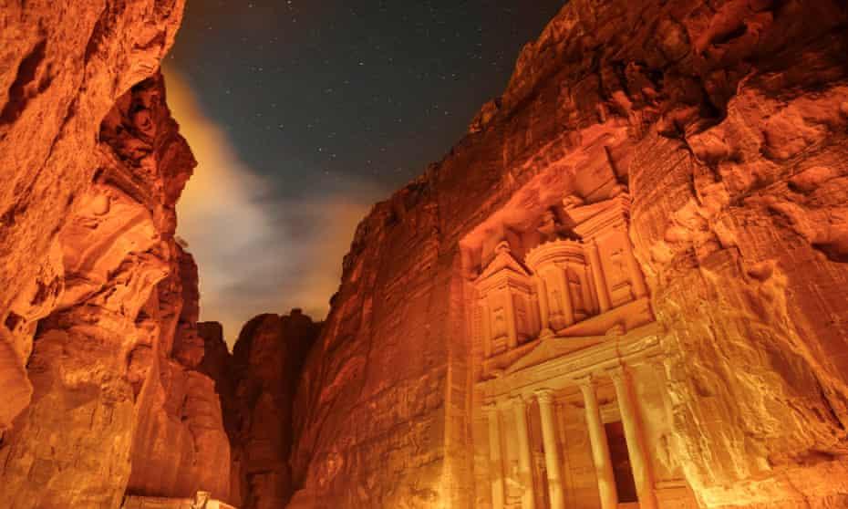 Petra lit orange at night