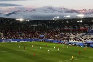 The mountainous backdrop to the Stade des Alpes in Grenoble as Canada play New Zealand.