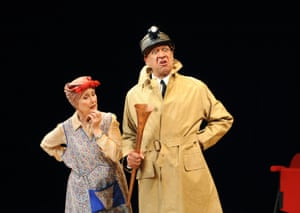Derek Griffiths in the title role of The Real Inspector Hound, alongside Una Stubbs, at the Minerva, Chichester, in 2010. In Tom Stoppard's comedy, two theatre critics get caught up in a mystery.
