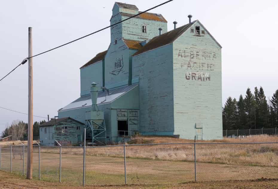 Prairie grain elevator turned interpretive centre sits abandoned in Andrew.