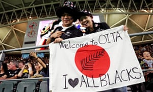 Supporters welcome the All Blacks to Oita for last week's World Cup game against Canada.