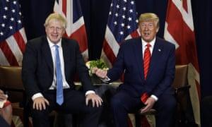 Boris Johnson and Donald Trump in New York yesterday.