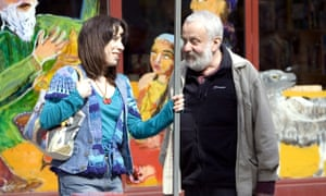 Sally Hawkins with Mike Leigh on the set of Happy-Go-Lucky