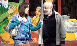 Leigh with Sally Hawkins on the set of Happy-Go-Lucky in 2008.