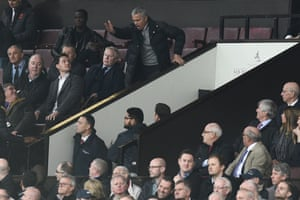 Jose Mourinho watches the Burnley game from the directors' box