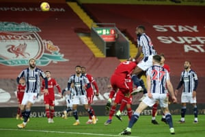West Bromwich Albion's Nigerian defender Semi Ajayi climbs to head in the equaliser.