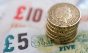 Pound coins on bank notes