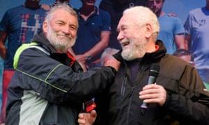 Jean-Luc van den Heede (left), is congratulated by Robin Knox-Johnston, after winning the Golden Globe race