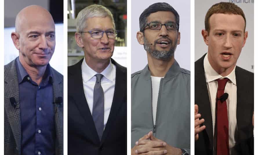 Amazon CEO Jeff Bezos, Apple CEO Tim Cook, Google CEO Sundar Pichai and Facebook CEO Mark Zuckerberg.