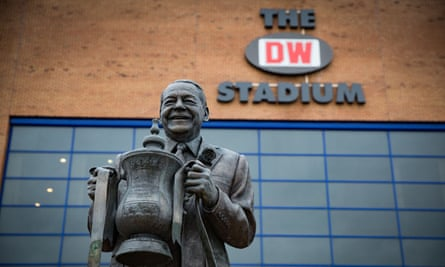 The statue of the Wigan owner, Dave Whelan, which sits outside the DW Stadium that is also named after his company, DW Fitness.