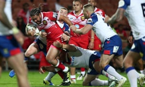 Konrad Hurrell on the charge against the Lions.