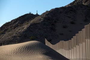 A section of the US/Mexico border fence is seen at San Luis Rio Colorado, Sonora