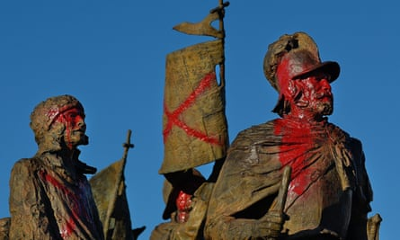 The Juan De Oñate sculpture is defaced with paint following a protest.