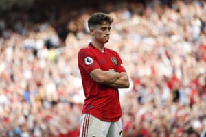 Manchester United's Daniel James takes in the support after scoring a late equaliser.