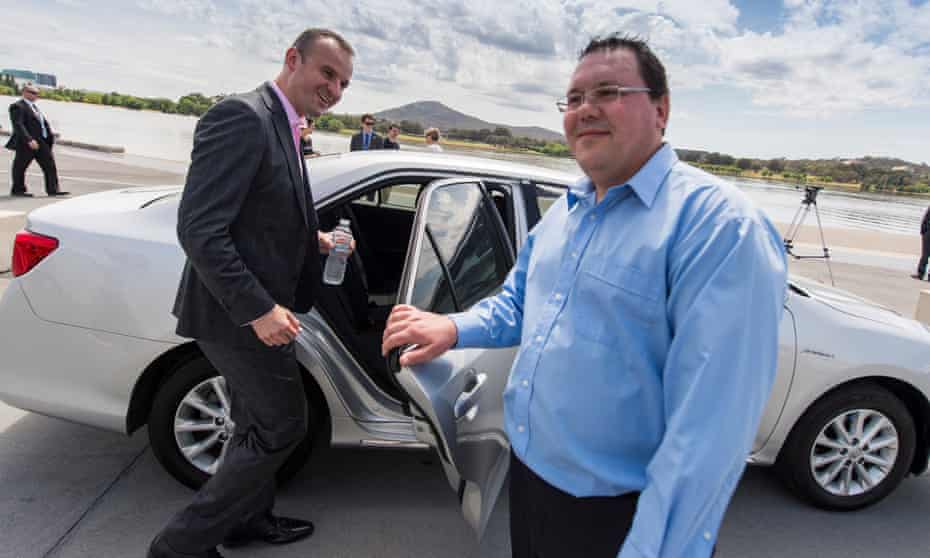 The Australian Capital Territory's chief minister, Andrew Barr, takes an UberX ride