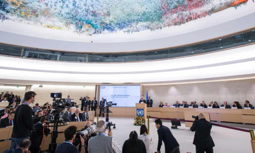 The UN human rights council listening to a speech by Palestinian president Mahmoud Abbas in October. The council has been assessing Australia's human right's record.